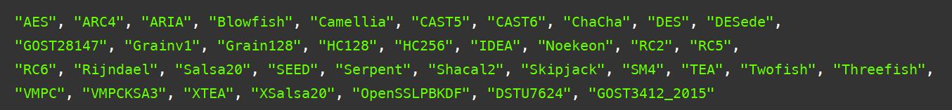 Bouncy Castle 提供的一部分算法实现